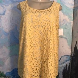 Charter Club Yellow Lace Overlay Lined Tank Top
